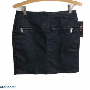 Zara Double Zipper Denim Black Mini Skirt NWT Sz 6